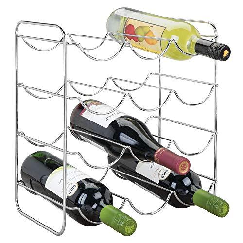 mDesign Portabottiglie Vino per Cucina, frigo o dispensa - Porta Bottiglie in Metallo per Massimo 12...