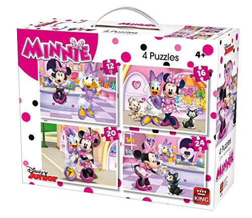 King 5254Disney 4-in-1puzzle Minnie Mouse (12/16/20/pezzi)–4puzzle in una valigia
