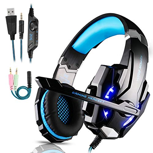 Igrome Gaming Kopfhörer für PS4, Xbox One, PC,Smartphone, Laptops, Mac,Tablet,Headset mit Mikrofon, LED Licht, Stereo Bass Surround 3.5mm(Blau)