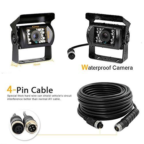 Telecamera Posteriore Camecho 4 pin 18 IR per visione notturna impermeabile Auto Fotografica+ 10 m cavo per Bus/camion/rimorchi/Caravan/camper Retromarcia Fotocamera 12V-24V