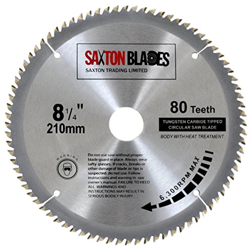 Saxton TCT, lama per sega circolare per legno, 210 mm x 30 mm, 80 denti per Festool, Dewalt Bosch,...