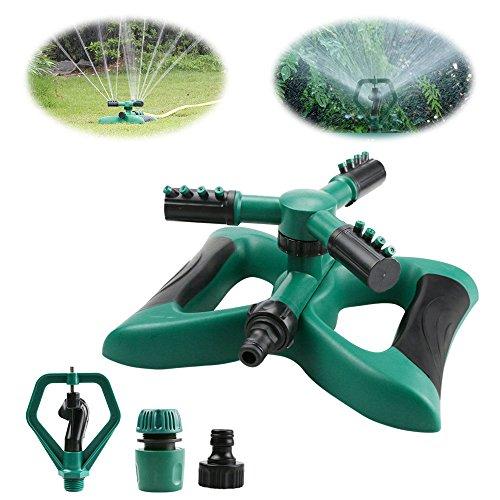 Yokunat Rasensprenger mit 3 Armen, 360° drehbar, mit 2 verschiedenen Düsenmodi, grün