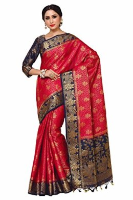 Mimosa Women's Red Silk Saree With Blouse Piece