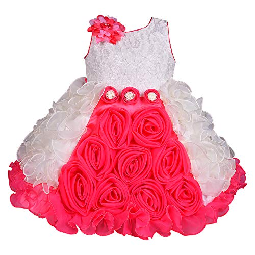 Wish Karo Baby Girls Tissue Party Wear Frock Dress - (bxa170-Pink-6-12 Months)