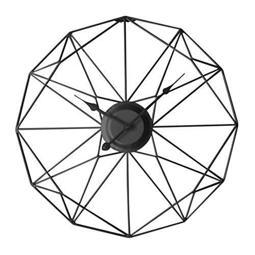 Winni43Julian 50CM Orologio da Parete Grande Orologio da Muro Vintage Orologio da Parete Silenzioso Metallo Orologio da Muro Design Moderno Orologio da Parete Shabby (Nero)
