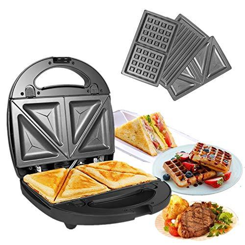 OZAVO Tostiera, Waffles piastra, Sandwich maker (3 in 1), 750w, Termostato regolabile, Piastre...