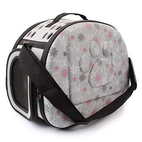Yimidear Al Aire Libre Respirable Plegable Bolsa para Mascotas para Perro Gato C贸modo Viaje Talla Mediana Portador de Mascotas (Gris)
