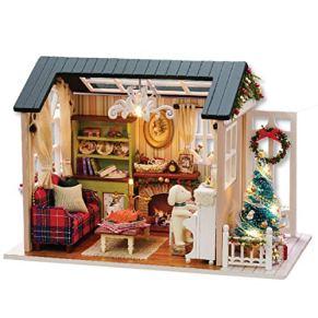 GODNECE Miniature House Casas de Muñecas con Muebles,DIY Dollhouse Casa de Muñecas DIY con Led
