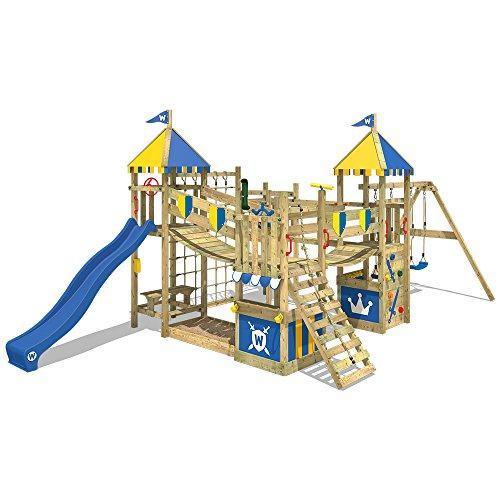 Nothing beats the number of accessories available for this climbing frame. If you have the space, multiple children, and the money, then this is your perfect match. The wooden frame is pressure-treated and the product has been safety tested. Every activity you can imagine is possible with this garden climbing frame.