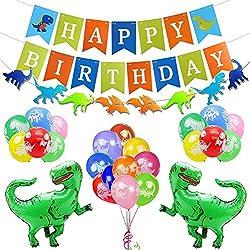 Kit de decoración de fiesta cumpleaños dinosaurio,feliz cumpleaños guirnalda, globos de papel de dino, globos latex colores artículos fiesta favores para niños chicas selva jurásico cumpleaños