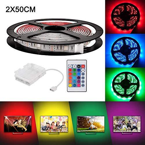 Lampade a LED RGB da 2 x 50 cm Luci a LED flessibili a batteria Impermeabili con batteria Scatola di...