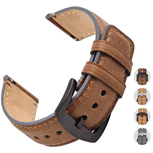 Fullmosa Cinturino a sgancio rapido in Cinturino Vintage in Pelle Brunito YOLA 4 Colori 18/20 / 22mm