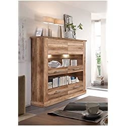 Highboard / Vitrinenschrank mit Türen und Schubkästen in Nussbaum satin 146x151x43cm / Trendtream