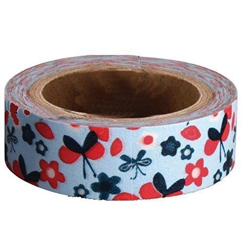 Ray–Cinta adhesiva decorativa en papel Washi, azul claro con flores y mariposas