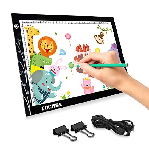 FOCHEA Tavoletta Luminosa A4, 5mm Ultrasottile Lavagna Luminosa, USB Tracing Light Box con...
