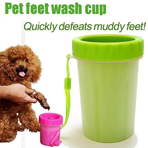 24x7 eMall Portable Durable Cleaning Cup with Silicone Bristles (Multicolour, Small Breeds)