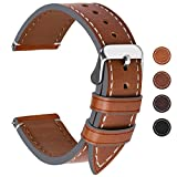 Fullmosa Cinturino di Ricambio in Pelle per Donne e Uomini,Orologi e Smart Watch,22mm Marrone Scuro + La Fibbia Argenta