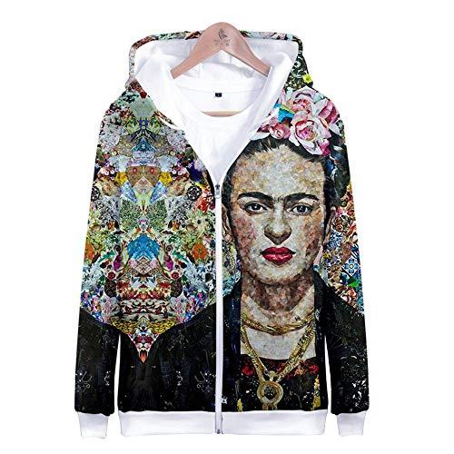 ALIDONE Frida Kahlo Hombres y Mujeres con Capucha Sudaderas con Cremallera Abrigos Ropa de Abrigo Informal Style J XL