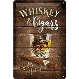 Nostalgic-Art Whiskey Placa Decorativa, Metal, Marrón, 20 x 30 cm