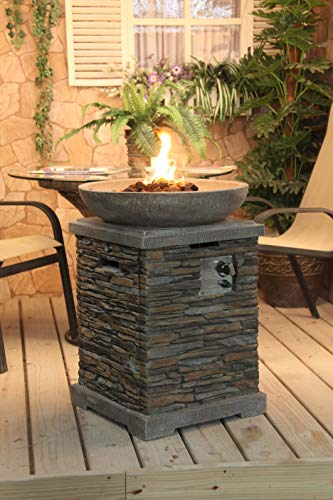 The Callow Retail Slate effect Gas Fire Pit will look the part in any garden or outdoor space. The gas-fired patio heater rests upon a slate effect column that will not deteriorate over time. A 6kg butane gas canister (not included) can easily be hidden inside the upright column, meaning you can store plenty of fuel without having unsightly cylinders visible. it can easily be used with propane as well but you need to spend a few extra pounds on a new regulator that fits, handy if you already use this type of gas for BBQ's etc.