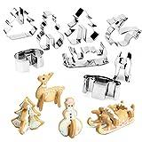 8piezas Set 3d acero inoxidable galletas Galletas Galletas Galletas forma diseño navideño para tarta con preciso cortarla agradable Manejo