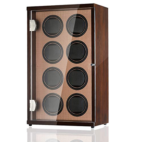 CHIYODA Watch Winder for 8 Watches, Automatic Watch Box with Quiet Mabuchi Motor & LCD Touch Screen - High Gross Brown