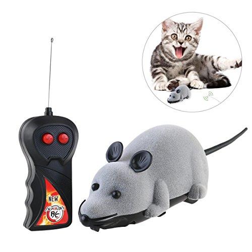 ROSENICE Telecomando Topo gatto giocattolo peluche di simulazione del Mouse Chase Toy(Grey)