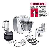 Bosch MUM5 MUM58W20 CreationLine Küchenmaschine (vielseitig einsetzbar, große Edelstahl-Schüssel (3,9 l), Mixer, Durchlaufschnitzler, 1.000 Watt) weiß/silber