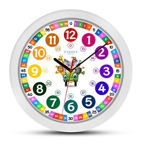 ONETIME Orologio da Parete per Bambini (Ø) 30,5cm Orologio da Parete per Bambini con Orologio e silenziosa farbenfrohem Design con Animali-Imparare A Leggere l' Ora