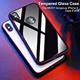 iPhone X Case, CASEKOO Hybrid [9H Tempered Glass] Case with Prime Soft Silicone Bumper,Slim-Fit Hard Back Protective Anti-Scratch Shock-Absorption Cover for iPhone X [Supports Wireless Charging]-Black