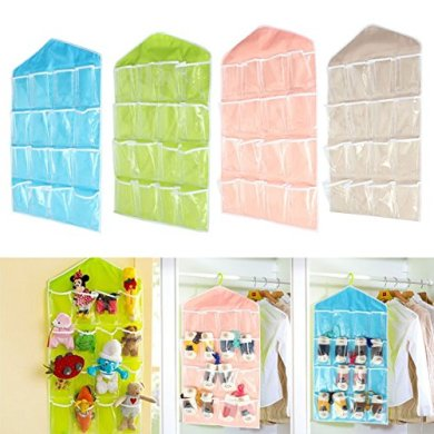 House of kart New Arrival Hanging Wall Pocket Storage Bag Candy Color Transparent Underwear Socks Slippers Jewelry Wardrobe Organizer (green) 10