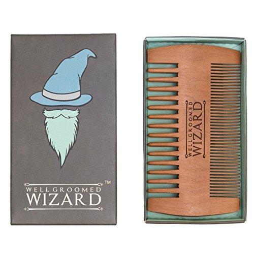 Well Groomed Wizard Pettine Barba, di Legno, doppia faccia, Antistatico per la Barba, Baffi e Cappelli | Uso Con Olio, Balsami e Cera | Il Perfetto Tascabile Alta Qualità Regalo