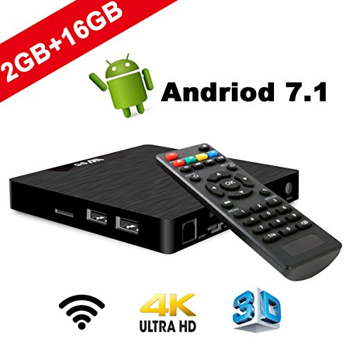 4 K Android 7.1 TV Box - seekool 2019 Model T Smart TV Box with 2 G RAM 16 g Rome, amlogic s905 W Quad Core 64 Bits, 4 K Ultra HD, Built-in WiFi, USB poort, HDMI & AV Output Media TV Player