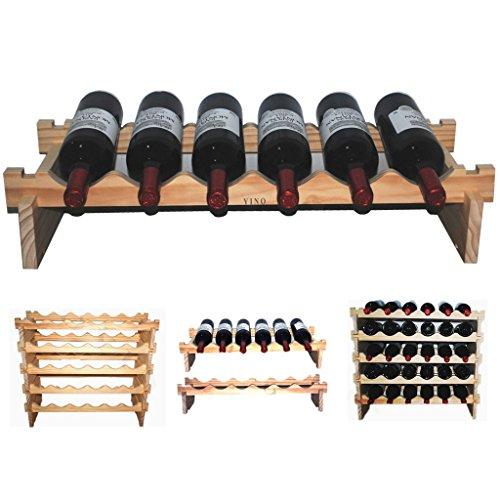 YINO robusti vini impilabili scopro ripiani di legno 3 - 108 bottiglie scaffalature deposito...