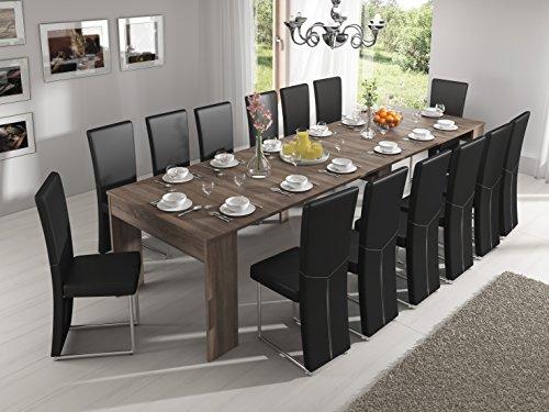 Home innovation - Tavolo consolle allungabile fino a 301cm, rovere moro, dimensioni chiusa: 90 x 49...