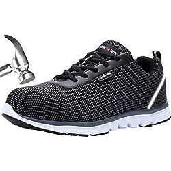 LARNMERN Chaussures de sécurité pour Hommes,LM-30 Chaussures de Travail antidérapantes en Acier Respirant réfléchissant (43 EU, Noir pâle)