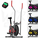 We R Sports 2-en-1 Elliptique Traverser Entraîneur & Exercice Vélo Maison Aptitude Cardio Faire du Sport Machine (Rouge)