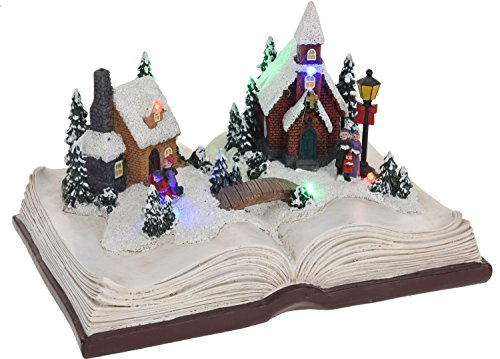 Eliware Weihnachtsdorf auf Einem Buch mit LED Beleuchtung | Rot