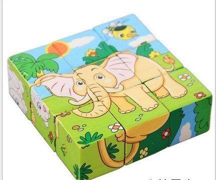treasure-house cubo di legno Block puzzle educativo-Lion Zebra Elephant Rhinoceros Tiger Rabbit,...