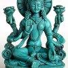 BUDDHAFIGUREN Estatua hinduista - Lakshmi - Resina turquesa, 14 cm de alto 3