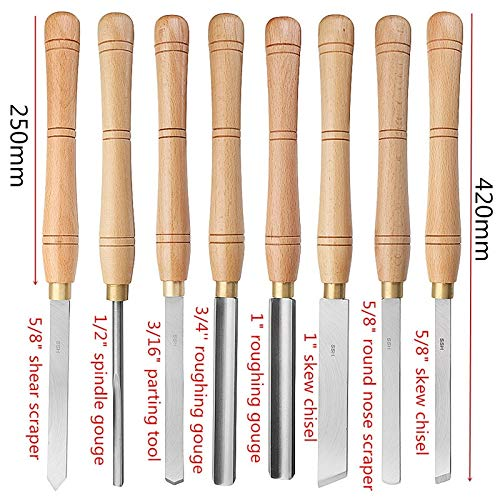 Homely Brand New High Speed Steel Lathe Chisel Wood Turning Tool With Wood Handle Woodworking Tool 8 Types Durable : F