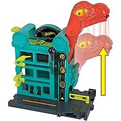 Mattel Hot Wheels-City Dino-Ataque al Garaje, Parking Juguetes Coches niños +4 años GBF91