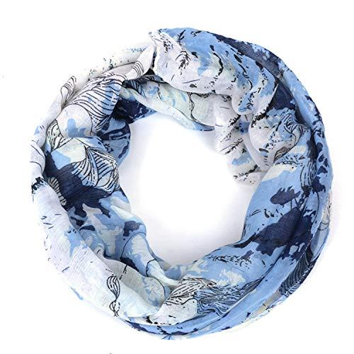 Loop-Schal für Damen, Loop Cary Basic Schal Tuch Damen-schal Schlauchschal Rundschal Halstücher uni unifarben Loopschal Rundschal einfarbig Geschenkidee für Frauen perfektes Frühling Sommer/Blau