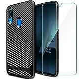 ivencase Samsung Galaxy A40 Hülle Panzerglas Displayschutzfolie, Schutzhülle Silikon Schwarz Case Soft TPU Handyhülle Carbon Fiber Cover für Samsung Galaxy A40