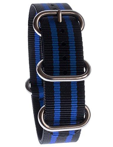 Yves Unisson Camani 20 mm orologi-Cinturino Nylon nato-colore nero/blu, nuovo