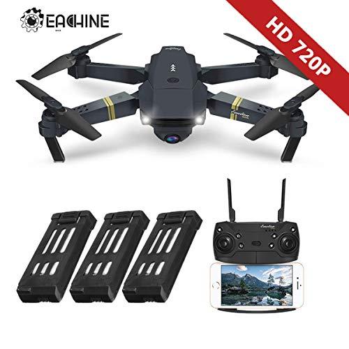 EACHINE Drone con Telecamera, E58 3 Batteria Pieghevole Drone con WiFi FPV HD 720P App Mobile Controllo Grandangolare Selfie Drone modalità di Attesa in Altitudine