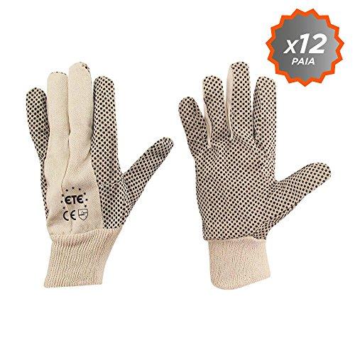 Confezione 12 paia guanti cotone polka 100% 7 once pallini PVC antiscivolo