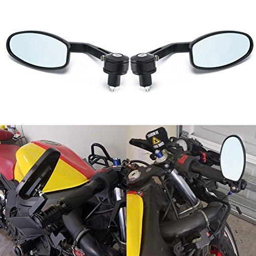 Allright 2 Stück Motorrad Spiegel Rund Lenkerendenspiegel Motorradspiegel Aluminium Rückspiegel 2,7 Zoll Lenkerspiegel Schwarz 1