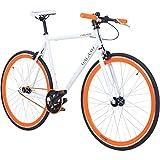 Galano 700C 28 Zoll Fixie Singlespeed Bike Blade 5 Farben zur Auswahl, Rahmengrösse:53 cm, Farbe:Weiss/orange