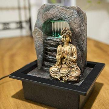 Zen' Light Buda Zen Dao Fuente, Resina, Bronce, 21x 17x 25cm 4